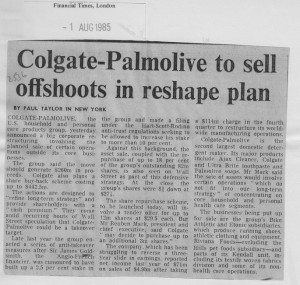 Colgate-palmolive_to_sell_offshoots_in_reshape_plan 1_08_1985
