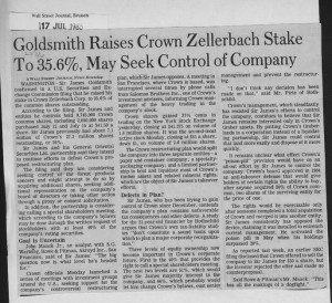 Goldsmith_raises_crown_zellerbach_stake_to_35.6_percent_may_seek_control_of_company 17_07_1985