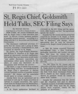 St_regis_chief_goldsmith_hold_talks_SEC_filing_says 21_02_1984